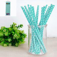 Paper Straws in Teal Polka Dot - pack of 20