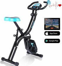 ANCHEER Exercise Folding Bike,Stationary Cycle Indoor Upright Bike, App Program