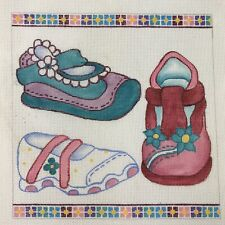 """Robbyn's Nest 3 Sneakers Shoes Handpainted Needlepoint Canvas, 18 Count, 8""""x8"""""""