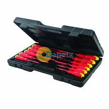 Insulated Soft Grip Screwdriver Set 11Pce Slotted Phillips Hardened Tips VDE