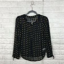 Lucky Brand Women's Top XS Black Semi Sheer Boho Print Tie Long Sleeve Buttons