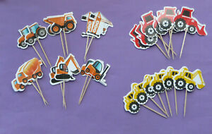 DIGGER TRACTOR CRANE CUPCAKE TOPPERS PICKS vehicle kids boys birthday party