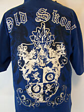Mens Old Skool T-Shirt Urban Royale Size L Embellished Distressed Glitter Studs