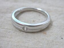 925 STAMPED - REAL Sterling Silver Single CZ Wedding Band Ring sz J to T UNISEX