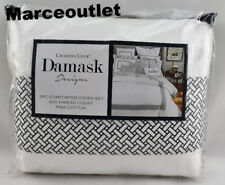 Charter Club Damask Designs Colorblock Print FULL QUEEN Duvet Set Black / White