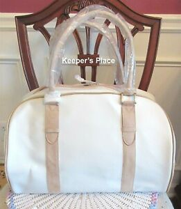 Estee Lauder Large Travel Carry on Duffle White Beige Faux Suede Leather Trim