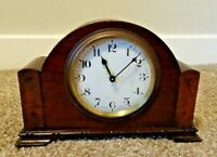 Antique 1930's Oak French Made Mantel Clock with Enamel Face (Winding Mechanism)