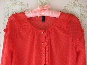 Rare! Vtg WW2 40s~50s~60s Polka Dot Ruffle Sheer Chiffon Dolly Blouse Shirt Red