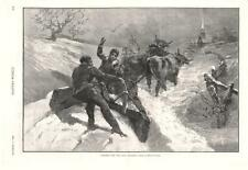 Clearing the Way For Christmas  -  Early Snow Plow  -   1886