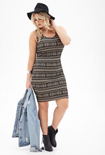 Plus Size Tribal Print Bodycon Dress 3x