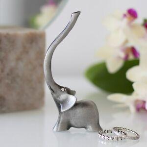 Metal Elephant Ring Holder, 10cm Tall, Modern Silver Coloured Jewellery Display
