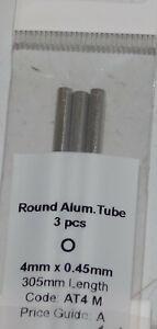 ALBION ALLOYS AT4M ALUMINIUM TUBE 4mm x 0.45mm x 305mm 3 PACK