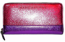 MARC JACOBS Fuchsia Multi Saffiano Leather Zip-Around Clutch Wallet NWT