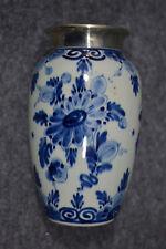 Porzellan,Delft, Vase, Regina, handbemalt, mit Metallrand versilbert