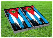 VINYL WRAPS Cornhole Boards DECALS Cuban Flag CUBA Bag Toss Game Stickers 671