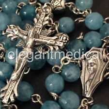 Natural Aquamarine + Silver Rose Beads catholic rosary Italy cross necklace gift