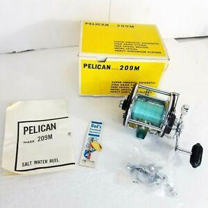 Vintage Pelican 209M Wind Salt Water Fishing Reel Chrome Brand New NOS Rare