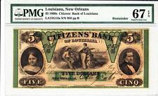 1860's  $5 The Citizens' Bank of LOUISIANA  - PMG Superb Gem Uncirculated 67 PPQ