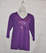 Bob Mackie Feather Sequin Embroidered Top Size 1X Purple