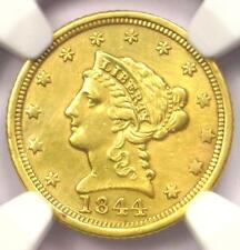 1844-D Liberty Gold Quarter Eagle $2.50 - NGC AU Details - Rare Dahlonega Coin!