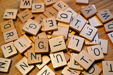 New 100 Wooden Scrabble tiles Black Letters Numbers Crafts WOOD ALPHABETS UK