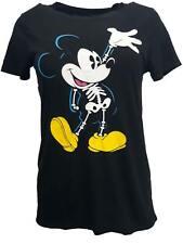 Juniors XS Mickey Mouse Skeleton Halloween Black T-shirt Glow in The Dark