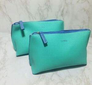 LOT OF 2 NEW LAMER TEAL GREEN TOP ZIPPER COSMETIC MAKEUP POUCH BAGS 9*5*3 INCH