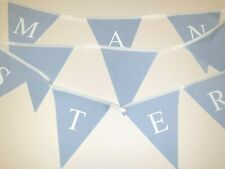 Manchester printed bunting  ** 10 mtr ** Pale Blue flags  and white print