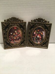 """Small Ornate Brass Picture Frame Floral Prints Vintage Italy 4 x 5.5"""""""