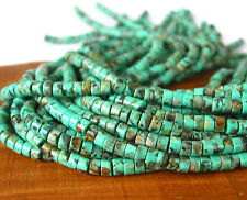 """15"""" 5mm x 3mm wheel tire Beads reconstructed African Turquoise"""