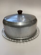 Vintage Aluminum Cake Cover with Glass Footed Cake Plate 10 inch Diameter