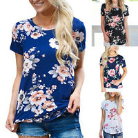 Women's Floral Print Round Neck Short Sleeve Summer Ladies Casual T-Shirt Blouse