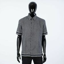 DIOR HOMME 1050$ Navy Blue Cotton Poplin Shirt with Dior Oblique Jacquard
