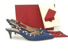 39/9 VALENTINO GARAVANI Rockstud Blue Leather Slingback Pumps Heel Shoes Sandals