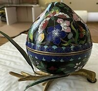 Chinese Cloisonne Peach Box w Leaves & Stand. Vintage