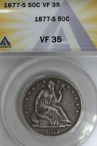 1877-S  .50   ANACS  VF 35    Liberty Seated Half, 50 Cents