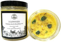 Happiness Soy Affirmation Crystal Candle Joy Positive Energy Wiccan Pagan Magic