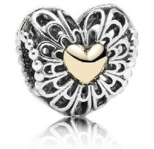 NEW AUTHENTIC PANDORA Sterling Silver Vintage Heart Bead w/14K Gold *Limited Edt