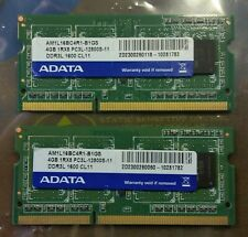 QTY: 2 - ADATA 4GB DDR3-1600 AM1L16BC4R1-B1GS SODIMM Laptop RAM (8GB total)