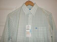 Men's S Coast Long Sleeve Button Front Shirt Green White Plaid NWT Hillsborough