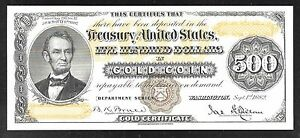 Proof Print by the BEP - Face of 1882 $500 Gold Certificate (Gold Coin Note)