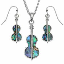String Instrument Paua Necklace & Earrings - Music Gift - Music Jewellery