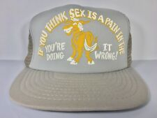 "Vintage ""If You Think Sex Is A Pain In The Ass"" Funny Novelty Trucker Hat Gray"