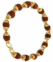 RUDRAKSHA RUDRAKSH BRACELET WITH GOLD PLATED CAP FOR STESS FREE LIFE ENERGIZED