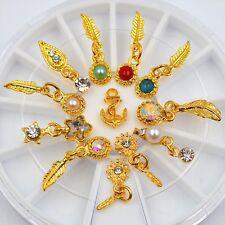12PCS Glitter 3D nail art decorations Pendant Feather Jewelry Accessories Wheel