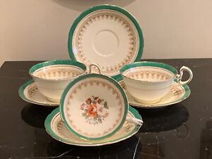 Aynsley China B4702 Green Footed Tea Cups and Saucers