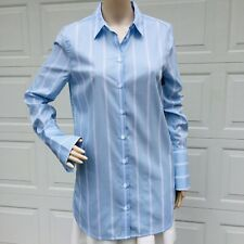 Equipment Femme S Small Shirt Neapolitan Cuff Cotton White Blue Stripe Tunic Top