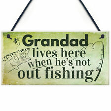Grandad Lives Here CARP Fishing Hanging Sign Fathers Day Dad Gone Fishing Gifts