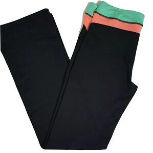 "EP Pro Sport Medium Black Full Length Golf Pant Pink/Green Waist 33"" Inseam EUC"