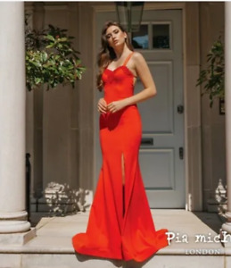PIA MICHI 1942 CORAL JERSEY PROM PAGEANT EVENING GOWN BNWT SIZE 6
